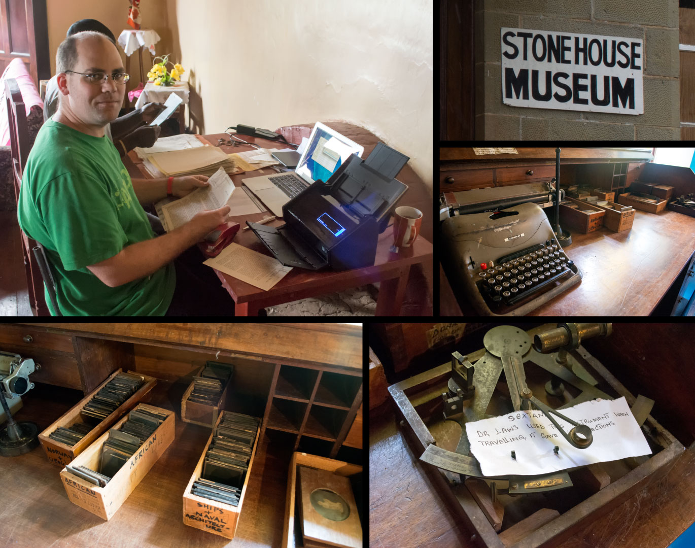 Artifacts in the Stonehouse museum in Livingstonia, Malawi.