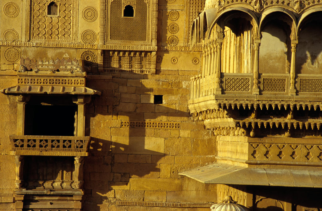 Carved sandstone buildings in Jaisalmer, India