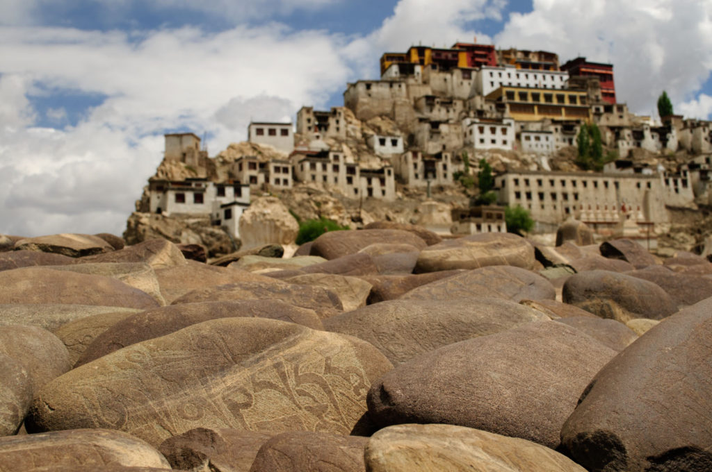 Mani stones in front of Thiksey monastery, Ladakh, India