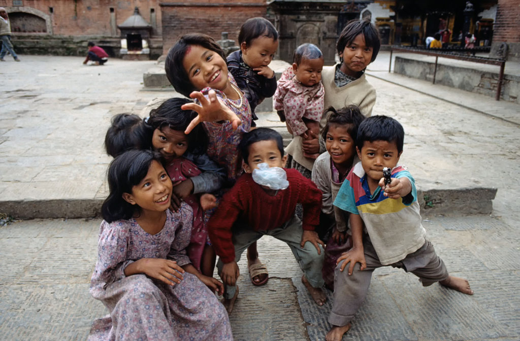 Nepalese children pose for the camera in the Kathmandu Valley.