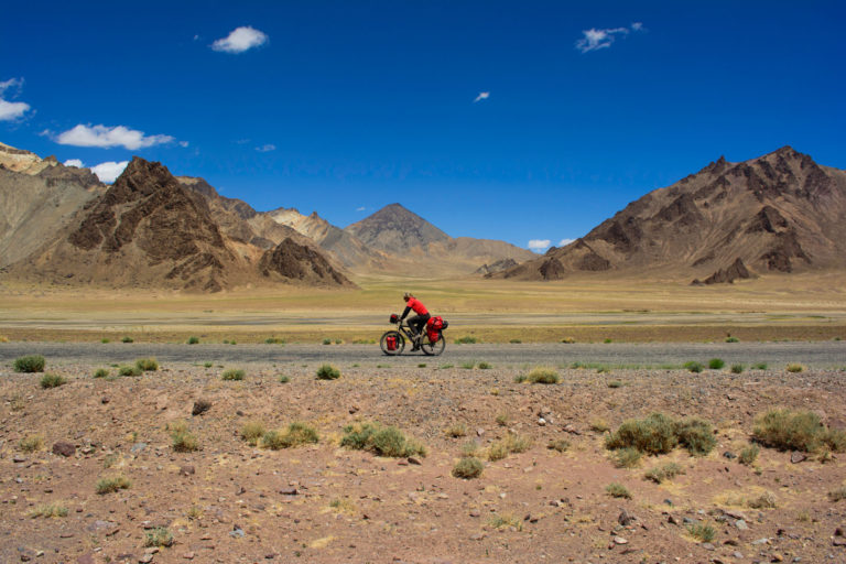 A cyclist pedals the Pamir highway in Tajikistan.