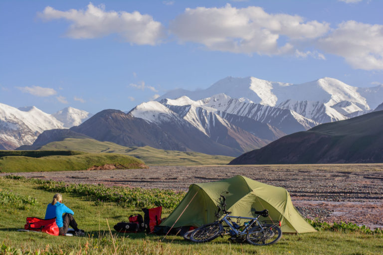 camping with a view of the pamir mountains