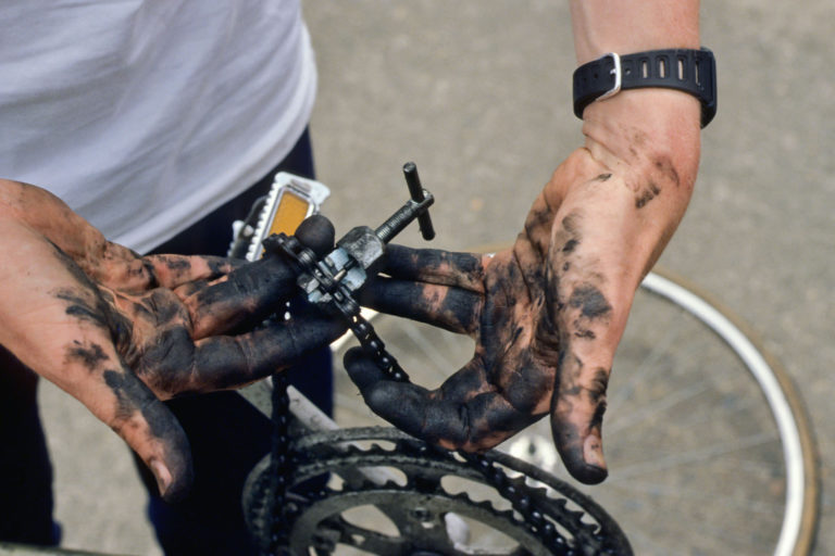 Filthy bike repair hands.