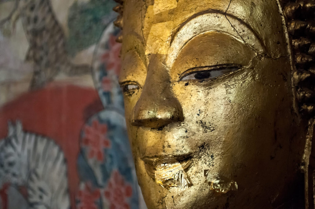 A Buddha statue in a Vientiane wat.