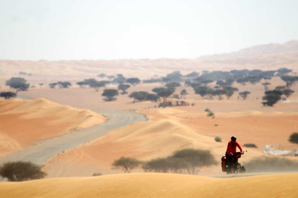 Cycling through the desert in Oman.