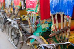 Colorful parked rickshaws in Bangladesh.